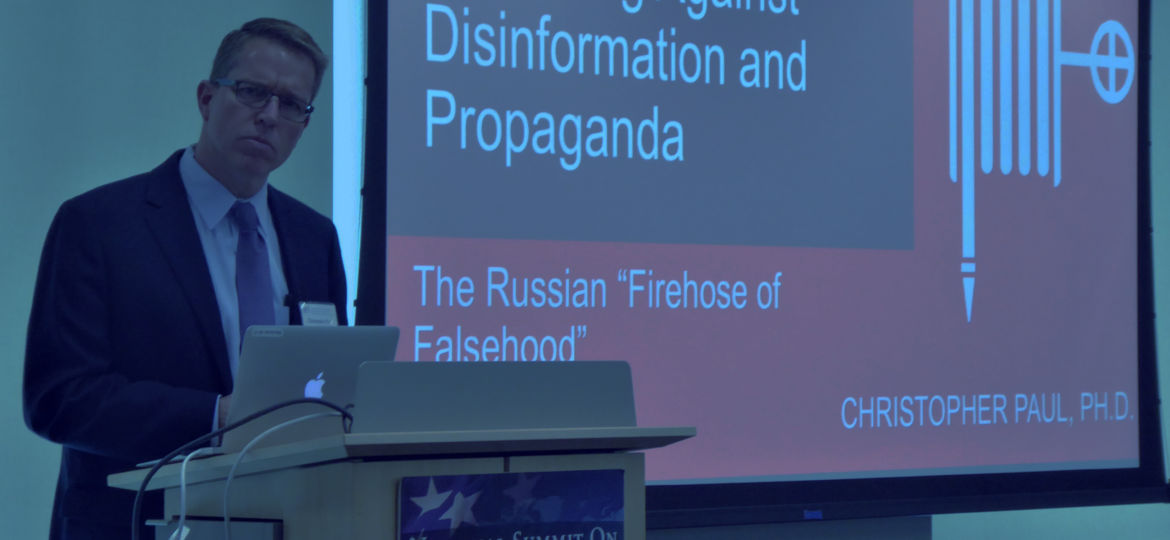 Dr. Christopher Paul talks about disinformation at Summit