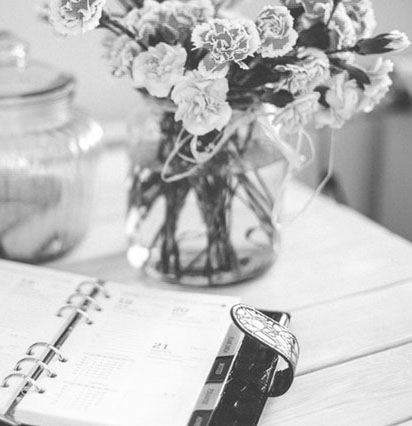 planner with flowers