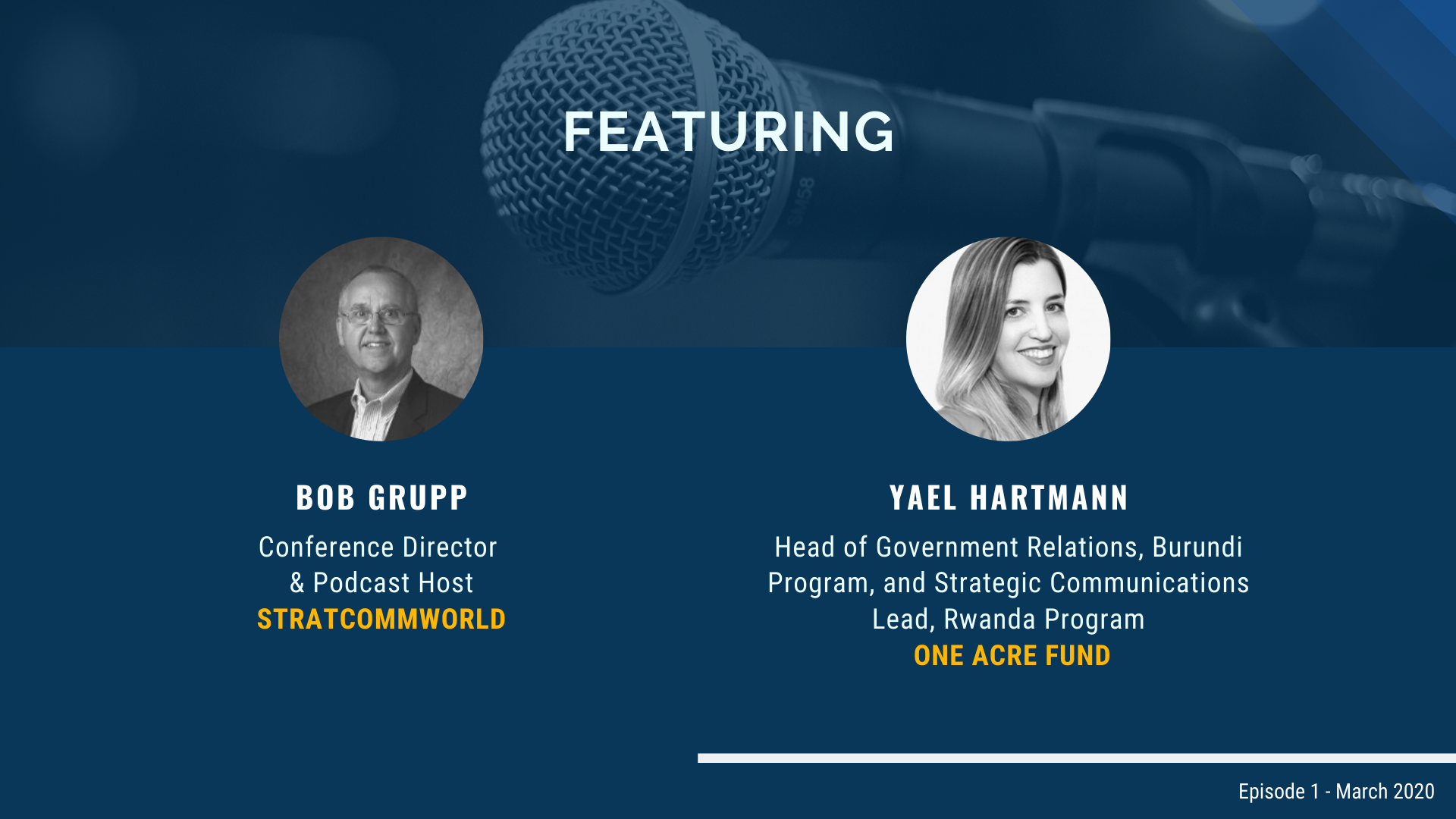 Featuring speakers Bob Grupp and Yael Hartmann